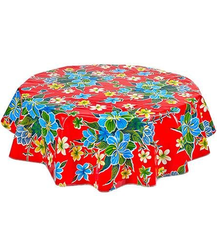 Round Freckled Sage Oilcloth Tablecloth in Hawaii Red - You Pick the Size! by Freckled Sage Oilcloth Products