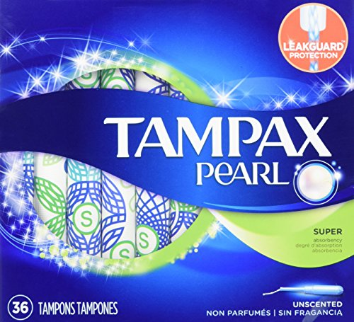 Tampax Pearl Plastic - Tampax Pearl Tampons with Plastic Applicator, Super Absorbency, Unscented, 36 Count- Pack of 2 (72 Count Total)