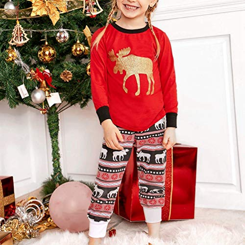 Pigiama E shirt Natalizio Per T Famiglia Di Bambini Set 2 Adulti Maniche Pantaloni Tianbin Natale Lunghi Lunghe Xmas Bambini qwEpZp