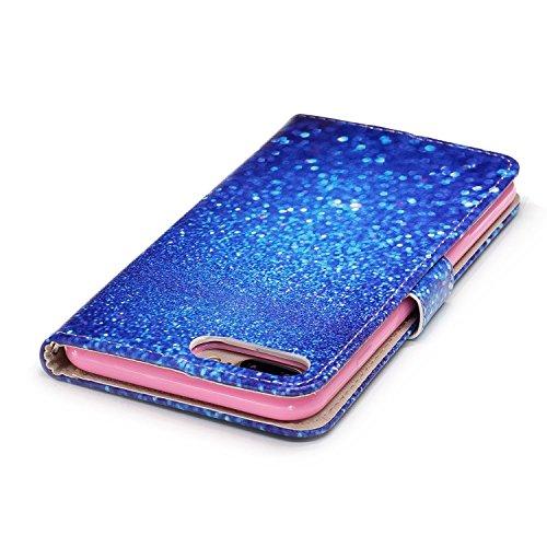 iPhone 8 Plus Coque,Gravière bleue Portefeuille Fermoir Magnétique Supporter Flip Téléphone Protection Housse Case Étui Pour Apple iPhone 8 Plus + Deux cadeau