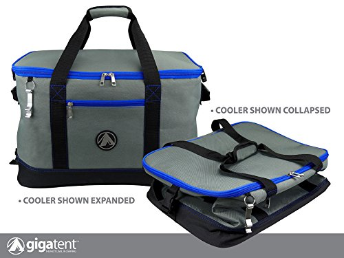 GigaTent Blue Insulated Collapsible Cooler - Soft Lunch Box with Bottle Opener For Camping, Beach and Travel - Lightweight and Tear Resistant Fabric - Holds 48 Cans or 30 Bottles