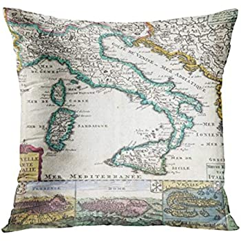 Emvency Throw Pillow Cover Nostalgic Vintage Map of Italy Old Decorative Pillow Case Home Decor Square 18 x 18 Inch Pillowcase
