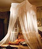 Light Yellow Big Mosquito Net Canopy for Holiday & Home. Full Coverage. Up to Kingsize. Non Skin Irritation. No Drilling No Screwing