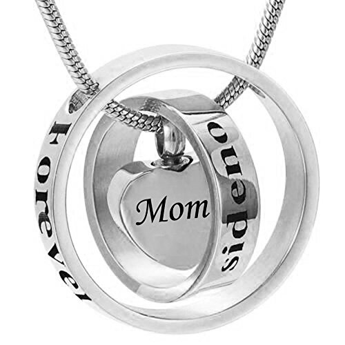 Mom cremation urn necklace forever in my heart carved locket urn cremation (Mom Heart Locket Necklace)