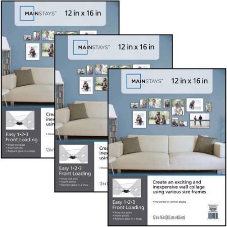 12x16 Format Picture Frame, Set of 3 Black Plastic by Mainstays