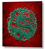 Jade Dragon Carving on a Red Background Printed on Metal Sheet 12 by 12