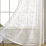 White Swirl Sheer Curtains Voile – Anady Top 2 Panel White Beautiful Floral Sheer Drapes Grommet 100 inch Extra Length(2018 NEW) Review