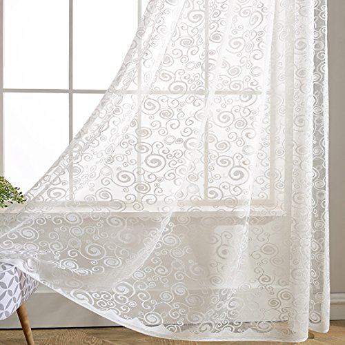 White Swirl Sheer Curtains Voile - Anady Top 2 Panel White Beautiful Floral Sheer Drapes Grommet 63 inch Length(2018 NEW) (Floral White Swirls)