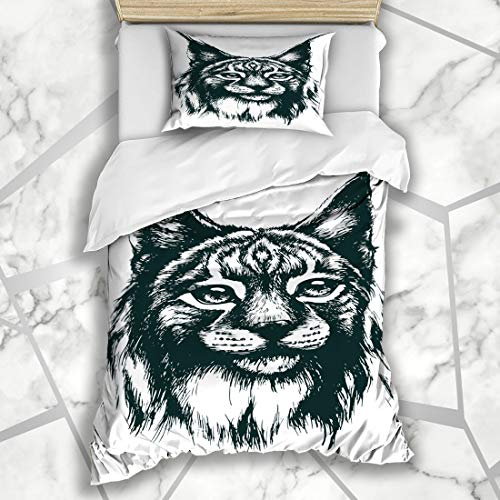 Ahawoso Duvet Cover Sets Twin 68X86 Imagine Blue Big Lynx Bobcat Nature Danger Green Cat Anger Beast Clever Art Microfiber Bedding with 1 Pillow Shams