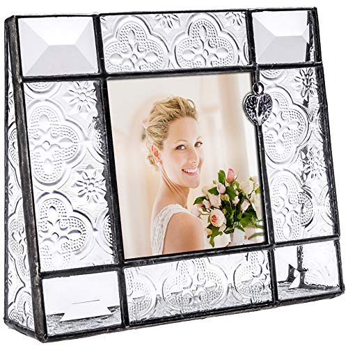 - J Devlin Pic 278-33 Vintage Clear Glass Picture Frame Tabletop 3x3 Photo Frame with Heart Charm Decorative Keepsake Gift