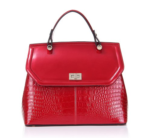Fineplus Women's Girls Fashion Padlock Crocodile Cute Genuine Cow Patent Leather Handbags Shoulder Strap Tote Bags Red, Bags Central