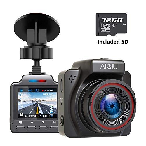 (AIQiu Dash Cam with 32GB SD Card, 1296P FHD Mini Car Driving Recorder, Vehicle Dashboard Camera, G-Sensor, Loop Record, WDR, Parking Monitor, Night Vision)