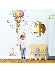 DECOWALL DAT-1606N Animal Hot Air Balloon Height Chart Kids Wall Stickers Wall Decals Peel and Stick Removable Wall Stickers for Kids Nursery Bedroom Living Room
