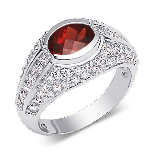 Garnet Ring Sterling Silver Rhodium Nickel Finish Oval Shape 1.50 Carats Size (1.50 Carats Oval Shape)