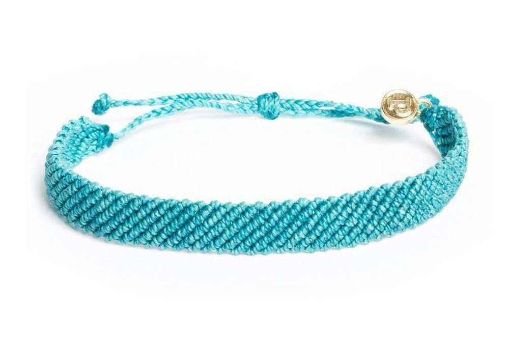 Pura Vida Flat Braided Pacific Blue Bracelet - Handcrafted with Gold-Coated Copper Charm - Wax-Coated, 100% Waterproof
