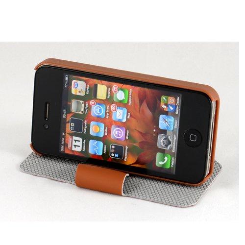 Braun Tasche Flip Apple iPhone 4 4S 4G Rotation Hülle 360° Case Etui Cover plt24