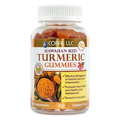 Turmeric Gummy Bears - Red Hawaiian Turmeric with Black Pepper Extract - Certified Organic, No Gelatin, Kosher, Halal Certified - Powerful Antioxidant Inflammation and Joint Support - 60 - Hawaii Coral Black