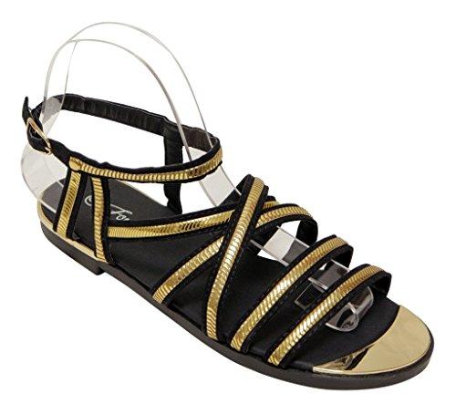 Per Sempre Rosie-31 Donna Open Toe Incrocio Regolabile Cinturino Alla Caviglia Cinturino Oro Sandali Neri 6.5