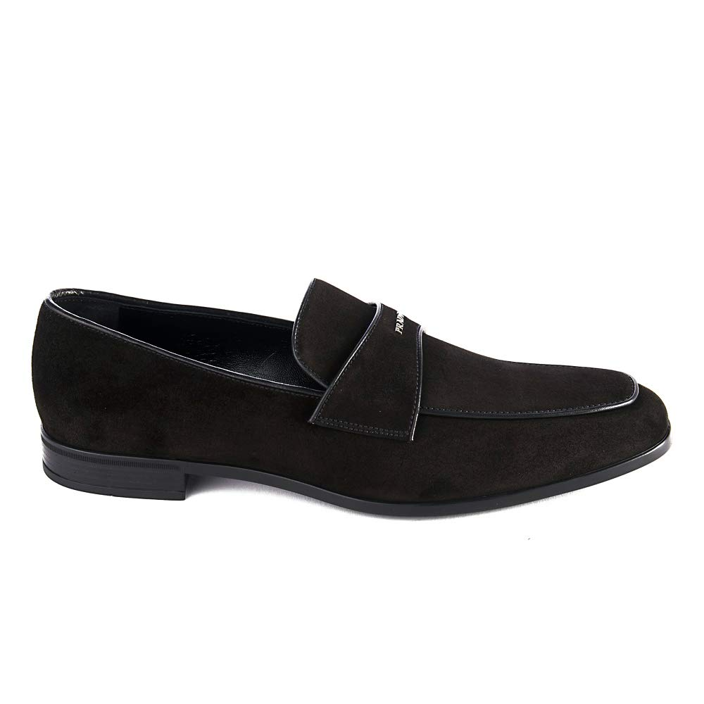 Amazon.com | Prada Mens Vitello Leather Suede Loafer Shoes Black | Loafers & Slip-Ons