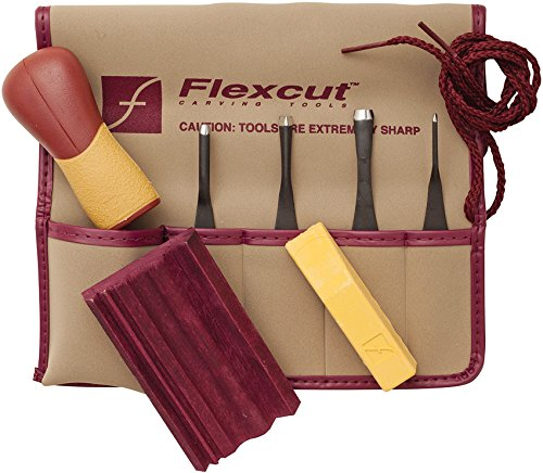 Flexcut Carving Tools, Printmaking Set, 4 Carving Blades an Quick-Connect ABS Handle Included, 5-Piece Set (SK130)