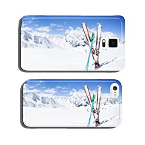 Skiing , mountains and ski equipments on ski run cell phone cover case Samsung S5
