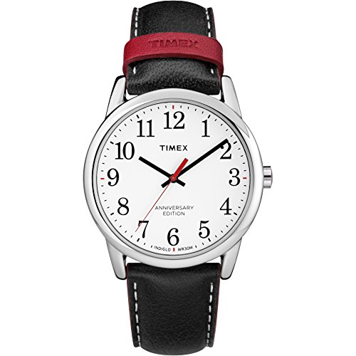Timex Men's TW2R40000 Easy Reader 40th Anniversary Black/White Leather Strap Watch (Leather White Strap Black)
