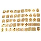50Pcs 16x13mm Gold Mini Metal Hinges Jewellery Box Dolls House Decorative Hinges With Screws