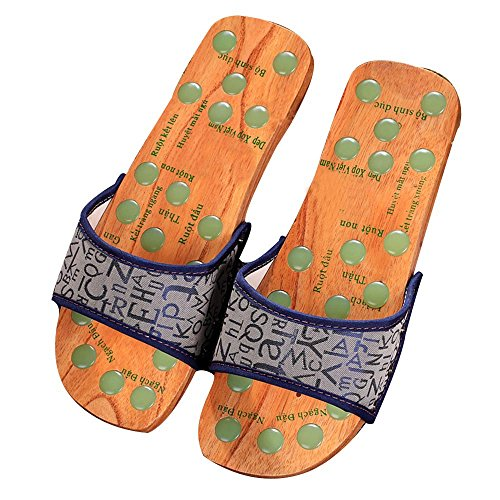 Women Men Reflexology Shoe Health Care Flip Flop Sandals Shiatsu Massage Slippers Acupressure Reflexology Slippers Bath Slippers Non-Slip Slippers Couple Slippers(Pink,Blue) (M, Blue)