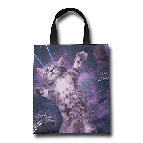 BinB Laser Cat Space Reusable Grocery Tote Bag Shopping Carrier Handbag(Two - Shops Perimeter Mall