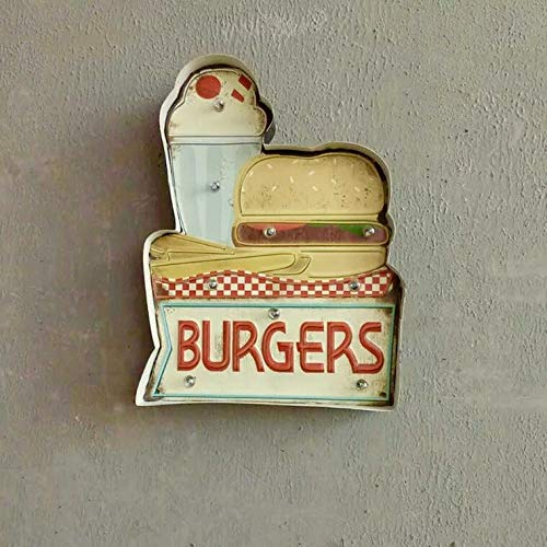 Vintage Handmade Metal Marquee Embossed Tin Decor, Industrial Style Light Up Sign, for Home, Bar or Cafe Wall Decor, Retro Sign, On/Off Switch (Burger)