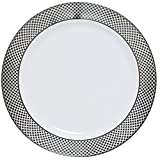 "Table To Go ""I Can't Believe It's Plastic"" 10"" Dinner Plates, Silver Florence Design, 50 Pieces, White"