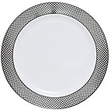 """Table To Go """"I Can't Believe It's Plastic"""" 10"""" Dinner Plates, Silver Florence Design, 50 Pieces, White"""
