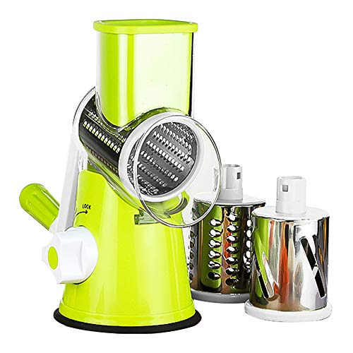 Vegetable Chopper, Rotary Mandoline Slicer with 3 Stainless Steel Rotary Blades, ABS Plastic Fuselage 675g/1.45lb