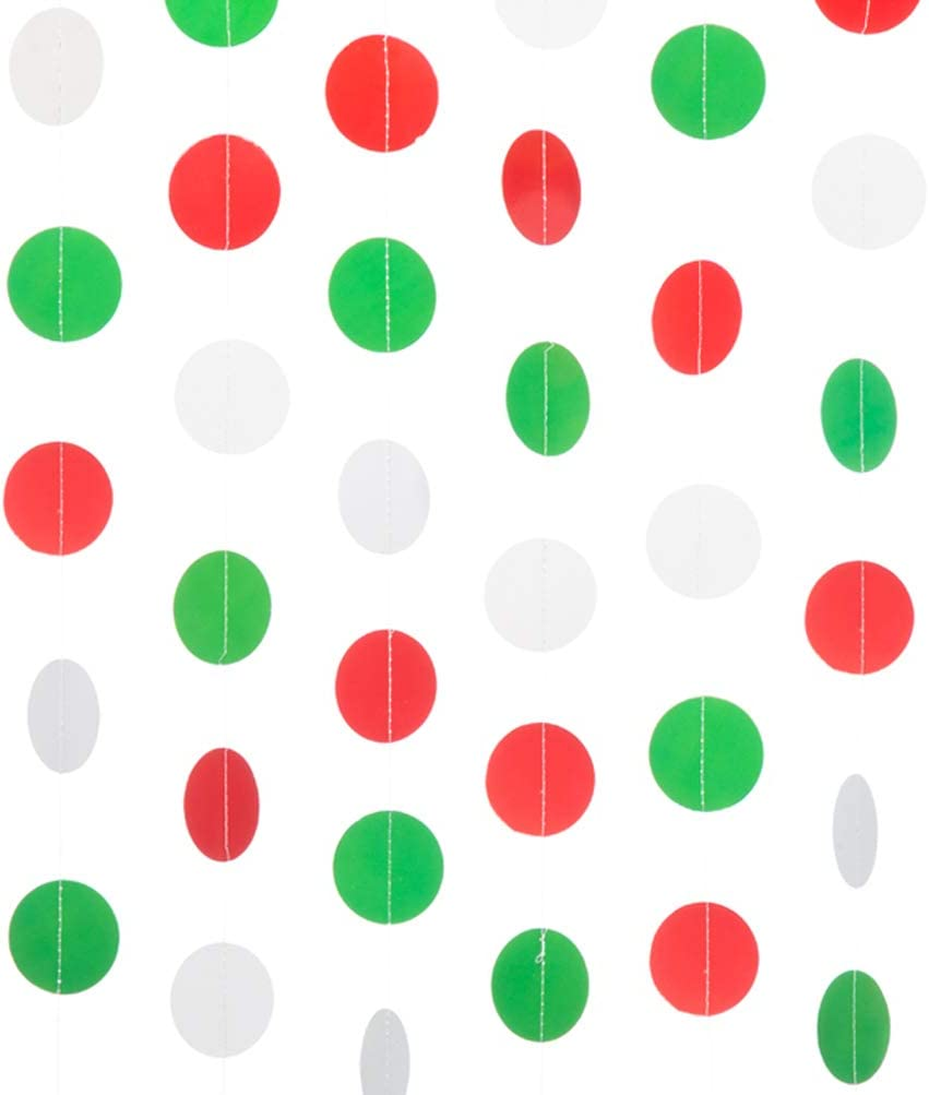 2/'/' in Diameter MOWO Paper Garland Circle Dots Hanging Decor Dark Green,Light Green,White, 2pc 2 in Diameter,10-feet