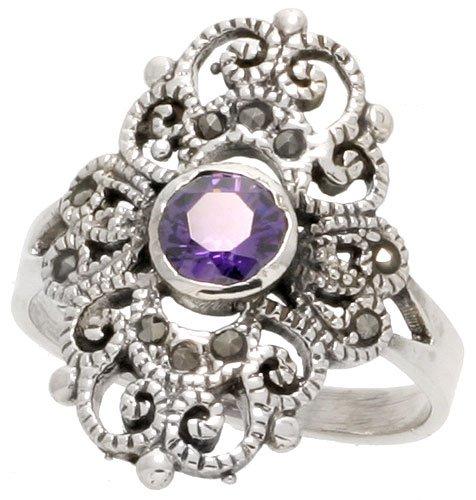 Sterling Silver Marcasite Fancy Ring, w/ Brilliant Cut Amethyst CZ, 7/8