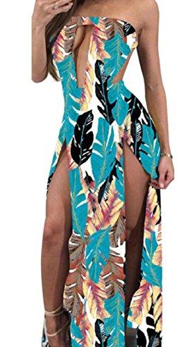 Jaycargogo Impression De Mode Répartition Des Femmes V Col Maxi Robe Sexy Creux 3