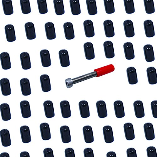 Mike Home 200 Pcs Screw Thread Protector Covers Rubber End Cap Black (Inside Diameter 6.5mm/0.25'') by Mike Home