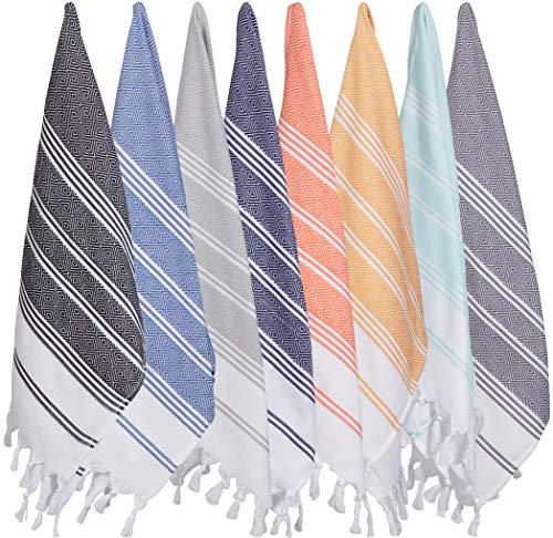 ((Set of 8) Turkish Cotton Hand Face Head Guest Gym Towel Set Peshtemal Washcloth Kitchen Tea Towel Dish Cloth)