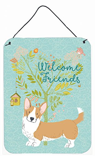 Caroline's Treasures BB7611DS1216 Welcome Friends Cardigan Welsh Corgi Tricolor Wall or Door Hanging Prints , 12x16, - Usa Metals Al Mobile