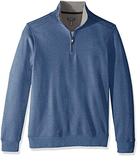 Van Heusen Men's Flex Long Sleeve 1/4 Zip Soft Spectator Sweater Fleece, Blue Thunder, Large -