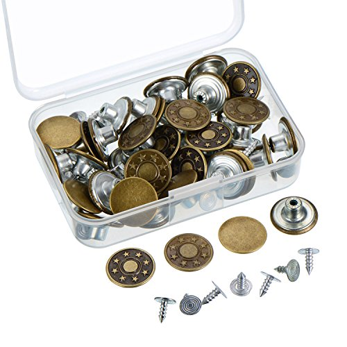 [Outus 40 Sets Jeans Button Tack Buttons Metal Replacement Kit with Storage Box, 2 Styles, Bronze] (Button Storage)
