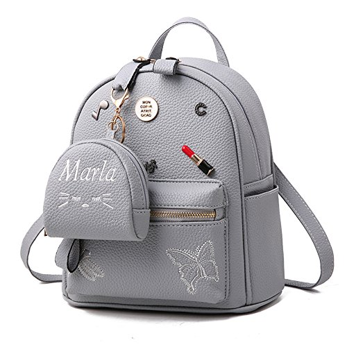 Flada niñas mochila PU cuero escuela bolsas mochila lindo Bookbag monedero con pequeña cartera de gato negro Grey