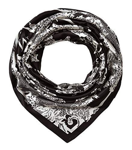 Large Square Satin Silk Like Lightweight Scarfs Hair Sleeping Wraps for Women Black and White Pattern