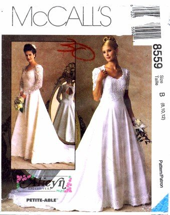 Amazon.com: McCall\'s 8559 Sewing Pattern Alicyn Bridal Gown Size 8 ...