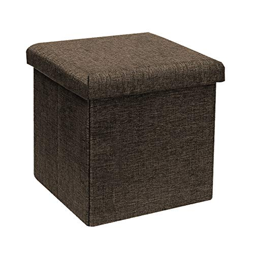 - B FSOBEIIALEO Storage Ottoman Cube, Linen Small Coffee Table, Foot Rest Stool Seat, Folding Toys Chest Collapsible for Kids Brown 11.8