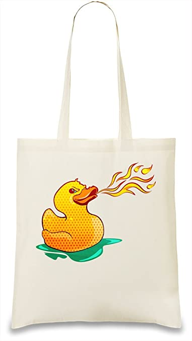 584ecad143238 Fire Breathing Rubber Ducky Custom Printed Tote Bag| 100% Soft ...