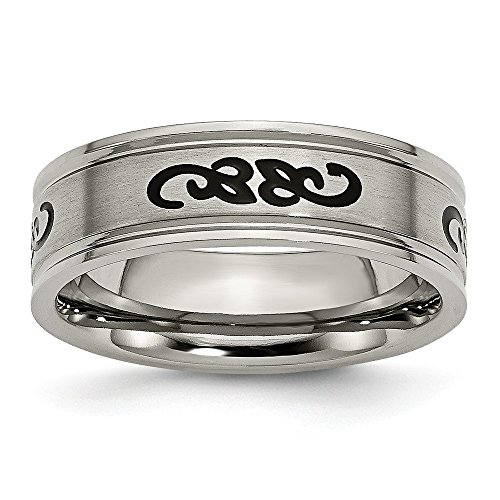 Chisel Titanium Brushed Engravable with Black Rubber Scroll Design Ridged Edge 7mm Band Ring - Size (Gold Milgrain Heart)