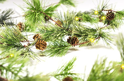 CraftMore Smokey Pine 6' Christmas Garland with Lights]()