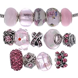 RUBYCA Murano Lampwork Charm Glass Beads Tibetan Crystal European Bracelet Mix Assortment Pink 15Pcs