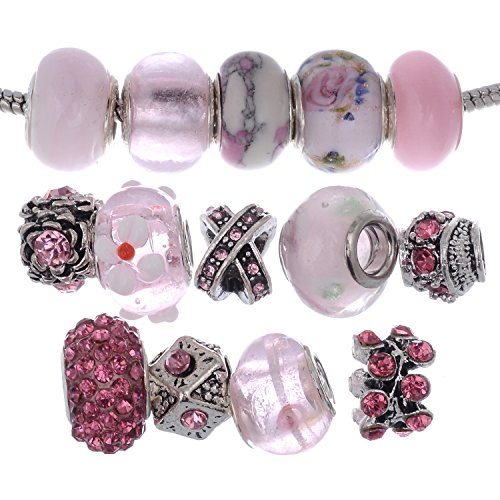 RUBYCA Murano Lampwork Charm Glass Beads Tibetan Crystal European Bracelet Mix Assortment Pink 15Pcs